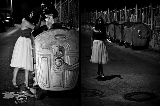 Picture no.1: Young woman throwing old love letter in a trash container and Picture no.2: Young woman walking down the street