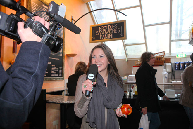 "Woman presenting Dutch TV show ""TMF VJ for a Day"""
