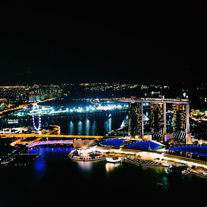 View over Marina May from One Altitude Bar in Singapore