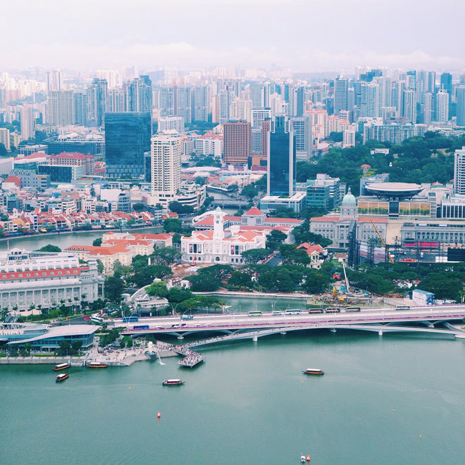View over Singapore skyline from Sands Skypark Observation Deck in Singapore