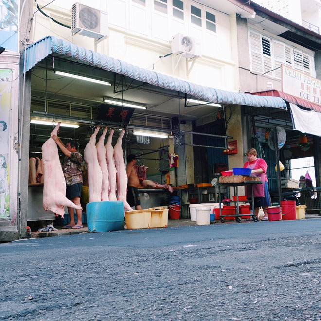 Butchers on streets of Georgetown Malaysia