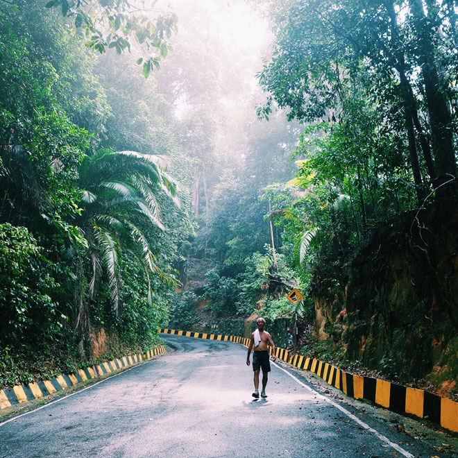 Man walking on lush jungle road in Botanical Gardens Penang Malaysia